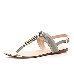 Grey gold trim sandals
