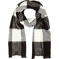 Black tartan check blanket scarf
