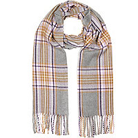 Grey tartan check scarf