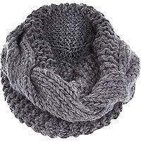 Grey chunky cable knit snood
