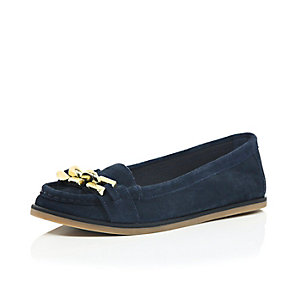 Navy suede front detail loafers