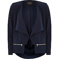 Navy relaxed waterfall jacket