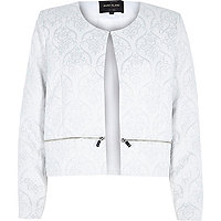 White lurex jacquard box cropped jacket