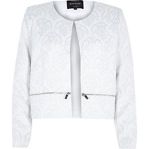 White lurex jacquard box cropped jacket
