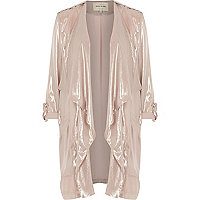 Light pink metallic waterfall jacket