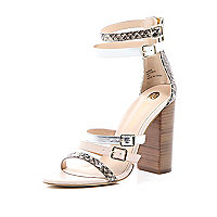 Beige snake print strappy high heel sandals