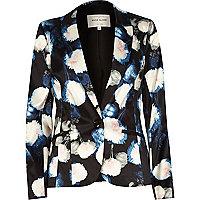 Blue floral print blazer
