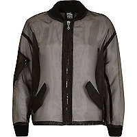 Black Design Forum organza bomber jacket
