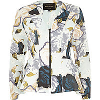 Cream floral print peplum jacket
