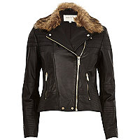 Black leather faux fur collar biker jacket