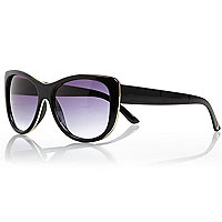 Black metal inlay cat eye sunglasses