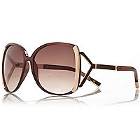 Brown oversized square sunglasses