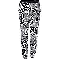 Black zebra paisley print joggers