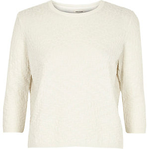 Cream mixed pattern jumper
