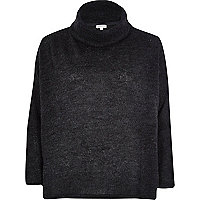 Dark grey roll neck knitted jumper