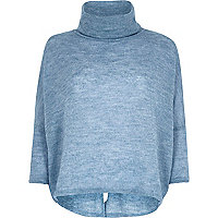 Blue roll neck knitted jumper