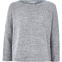 Grey boucle knitted boxy top