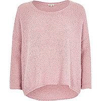 Pink boucle knit jumper