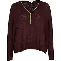Dark red knitted zip front top