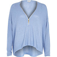 Blue knitted zip front top