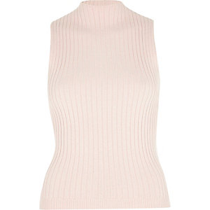 Pink ribbed fitted high neck top