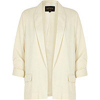 Cream satin ruched sleeve blazer