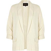 Cream satin ruched sleeve blazer