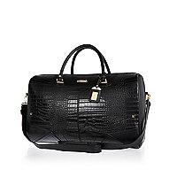 Black croc detail weekend bag