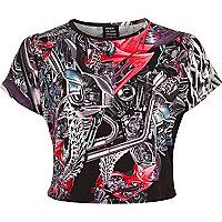 Black Design Forum motor print crop t-shirt
