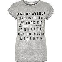 Light grey metallic fashion print t-shirt