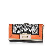 Orange colour block cliptop purse