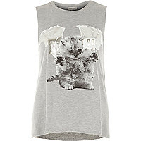 Grey spooky kitten tank top