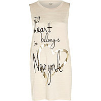 Beige my heart belongs in New York tunic