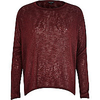Dark red metallic handkerchief hem top