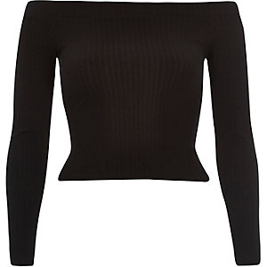 Black ribbed bardot crop top
