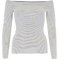 Cream stripe fitted bardot top