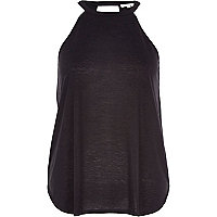 Black neppy sleeveless top