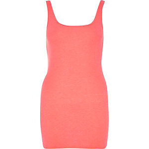 Coral scoop neck longline vest top