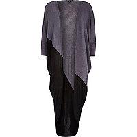 Grey colour block draped midi cardigan