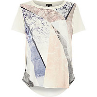 Cream graphic print curved hem top