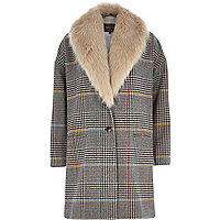 Brown check faux fur collar coat