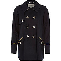 Navy cropped trench coat