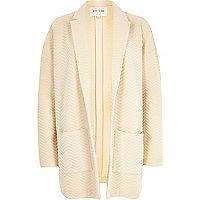 Cream zig zag textured jersey jacket
