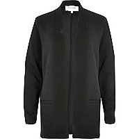 Black inverted collar jersey jacket