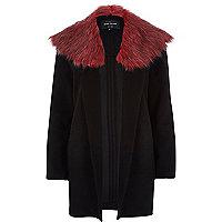 Black contrast faur fur collar jacket