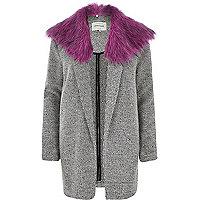 Cream contrast faux fur collar jacket
