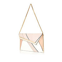 Pink panelled asymmetric flap clutch