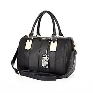 Black textured bowler handbag