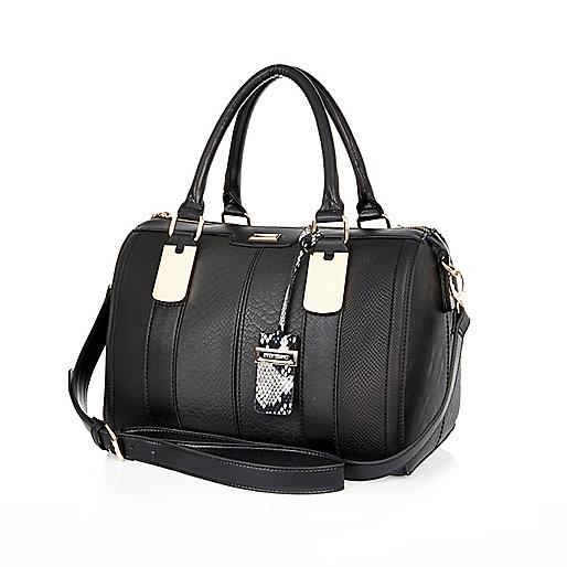 d3570b4ebd3 BLACK TEXTURED BOWLER BAG - SHOPPER / TOTE BAGS - BAGS / PURSES - WOMEN on  The Hunt