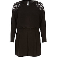 Black smart lace playsuit